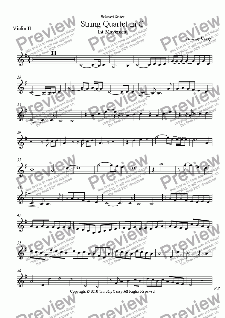 page one of the Violin II part from String Quartet in G