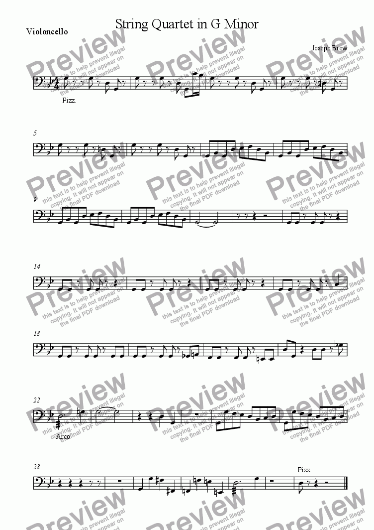 page one of the Violoncello part from String Quartet in G Minor