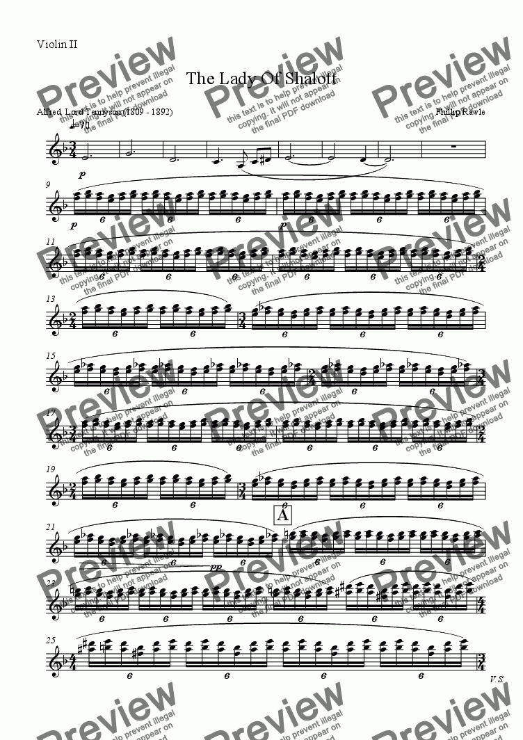 page one of the Violin II part from The Lady Of Shalott