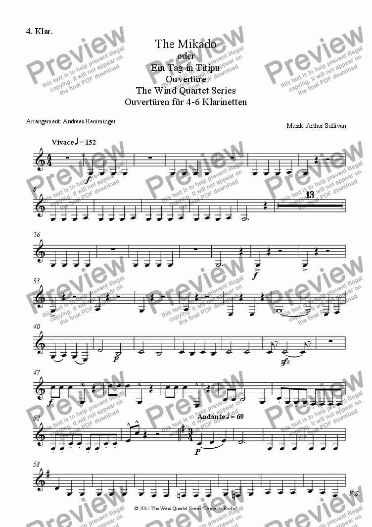 page one of the 4. Klar. part from Overture, The Mikado
