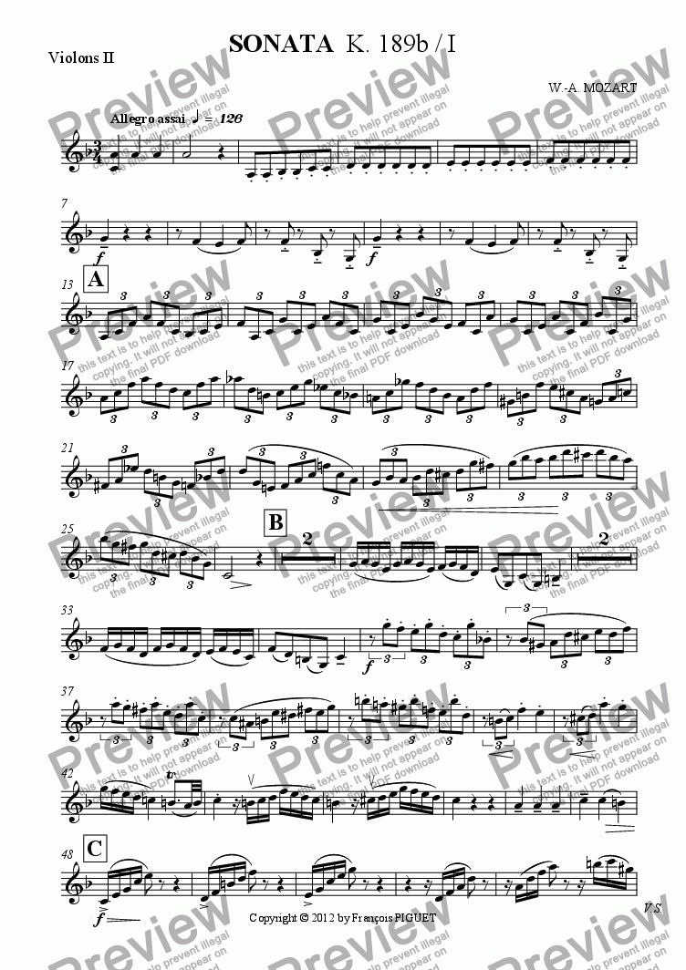 page one of the Violons II part from SONATA  K. 189b / I