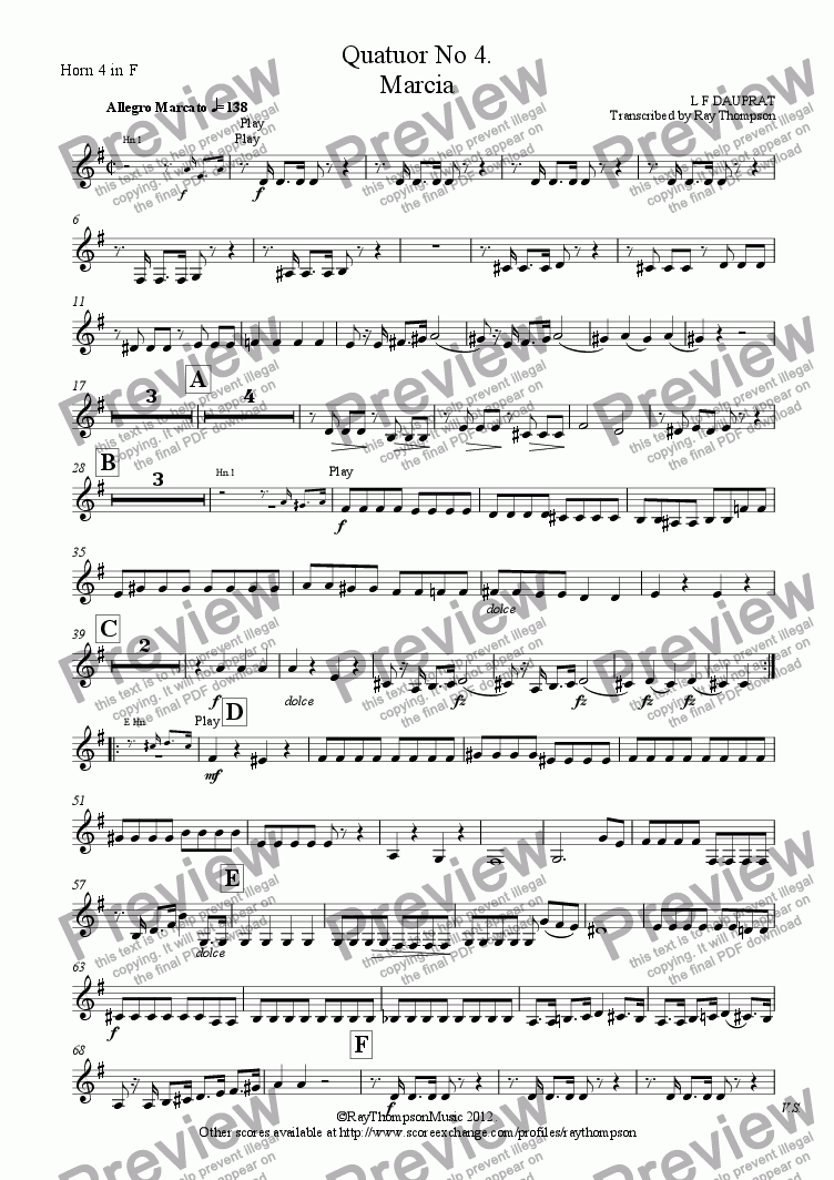 page one of the Horn 4 in F part from DAUPRAT: Horn Quartet No 4. Marcia (March)