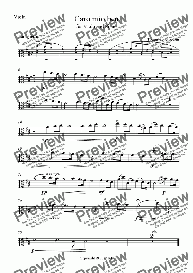 page one of the Viola part from Caro mio ben - for Viola and Piano