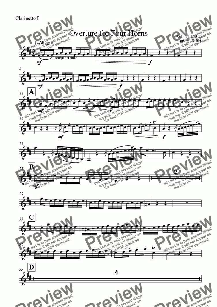 page one of the Clarinetto I part from Overture for Four Horns