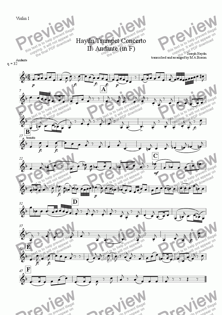 page one of the Violin I part from Haydn Trumpet Concerto II. Andante (in F)