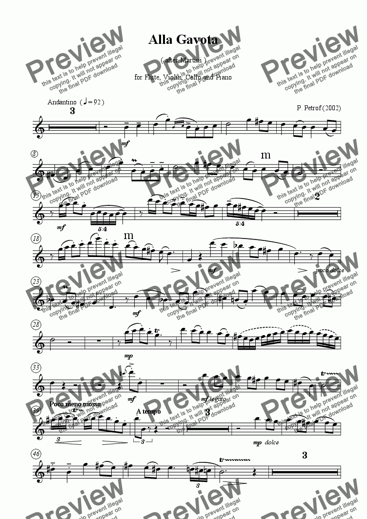 page one of the Flute part from ALLA GAVOTA - for flute, violin, cello and piano