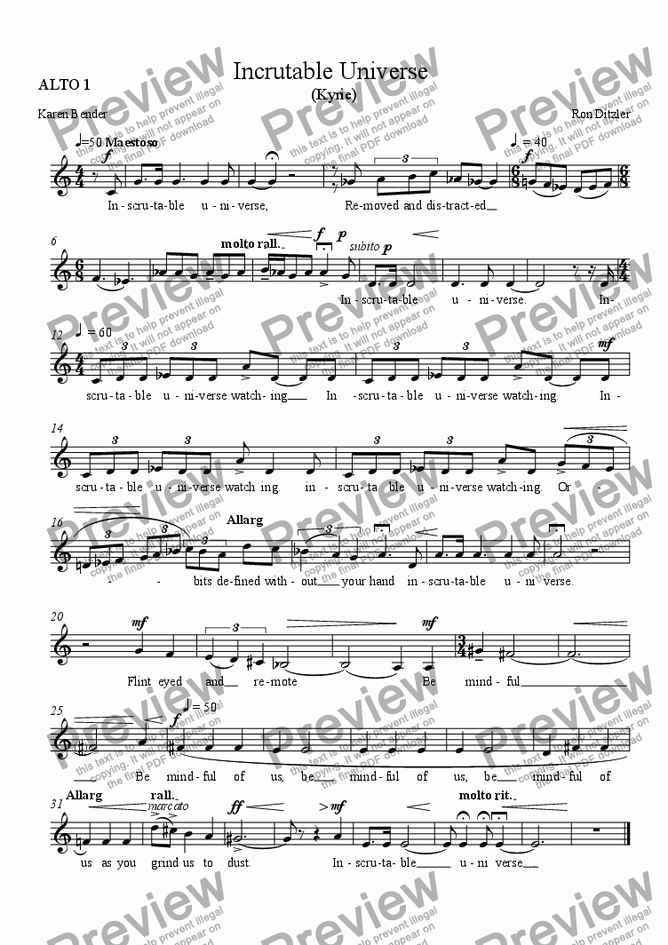 page one of the ALTO 1 part from Inscrutable Universe