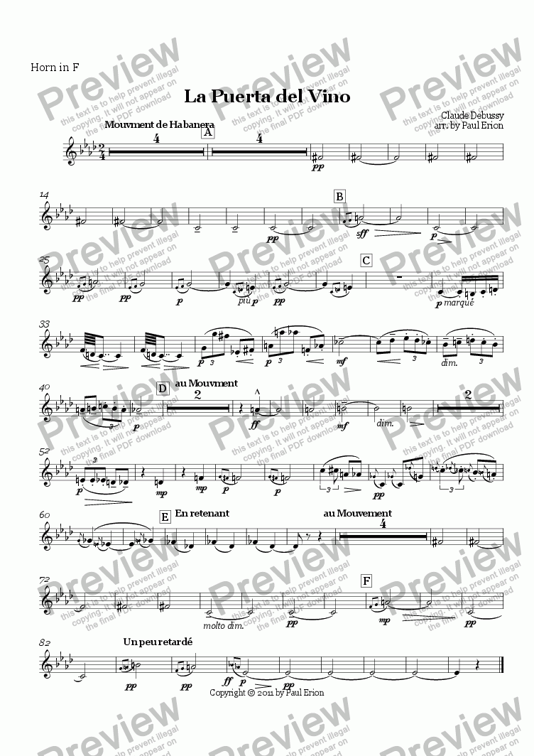 page one of the Horn in F part from La Puerta del Vino
