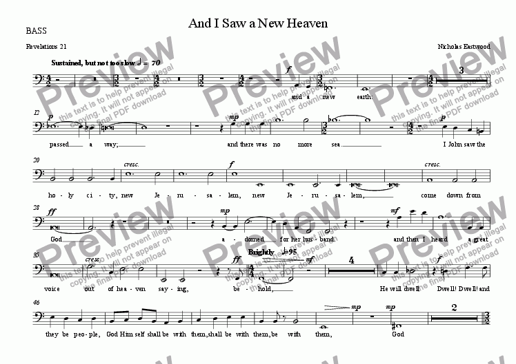 page one of the BASS part from And I Saw a New Heaven