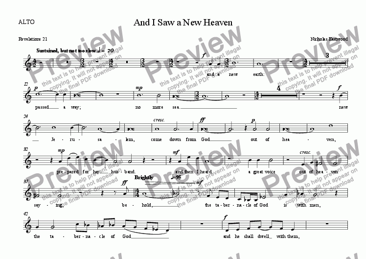 page one of the ALTO part from And I Saw a New Heaven