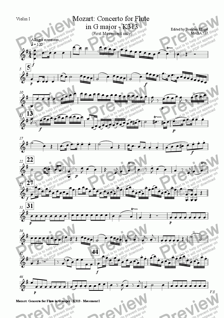page one of the Violin I part from Concerto for Flute  in G major - Mozart K313 (First Movement only)