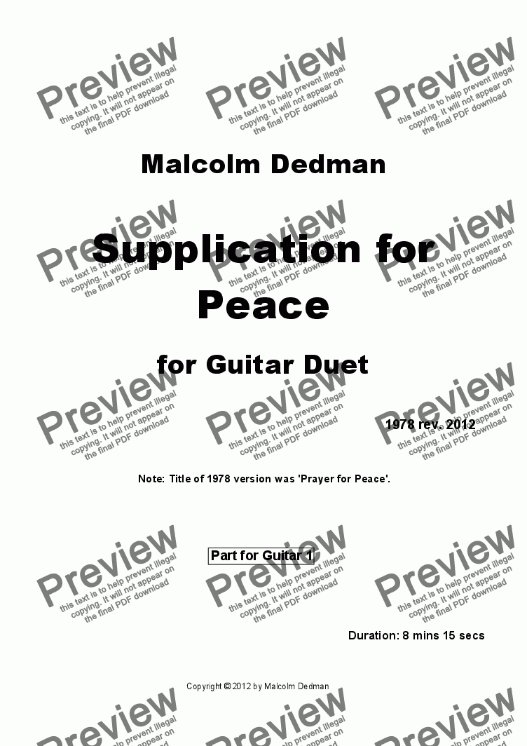 page one of the Guitar 1 part from Supplication for Peace