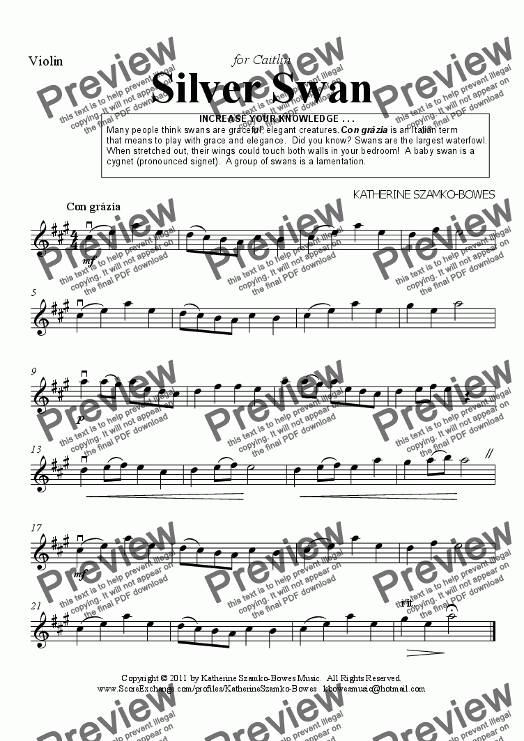page one of the Violin part from Silver Swan (violin solo)