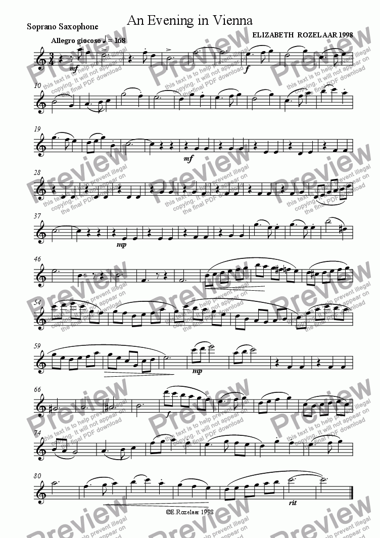 page one of the Soprano Saxophone part from An Evening in Vienna for Saxophone Quartet