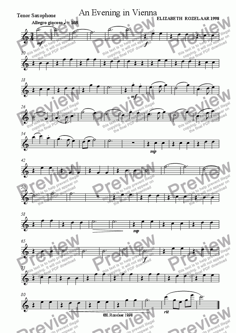 page one of the Tenor Saxophone part from An Evening in Vienna for Saxophone Quartet
