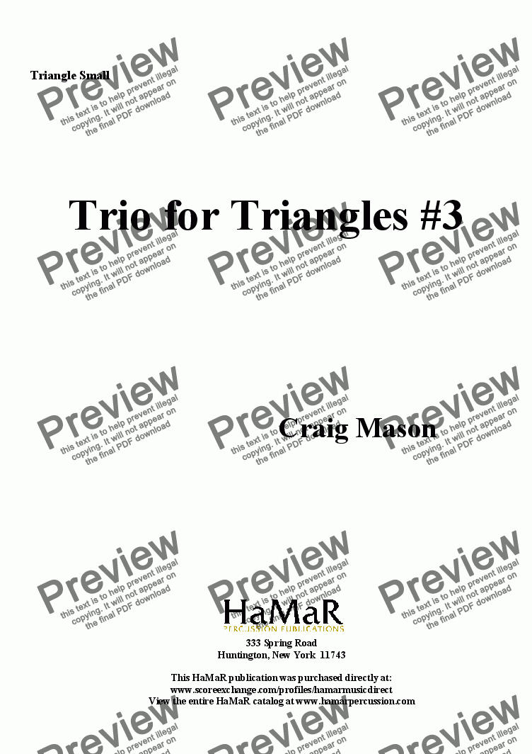 page one of the Triangle Small part from Trio for Triangles #3