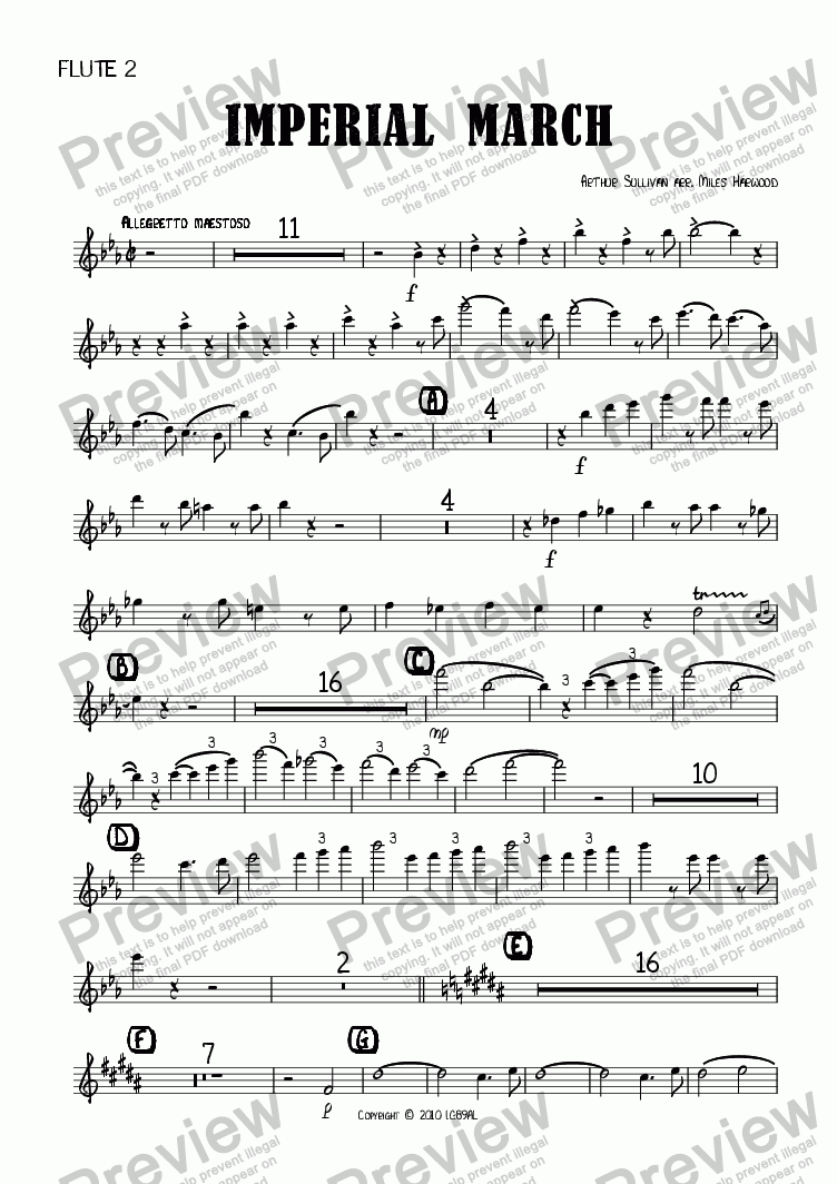 page one of the Flute 2 part from Imperial March