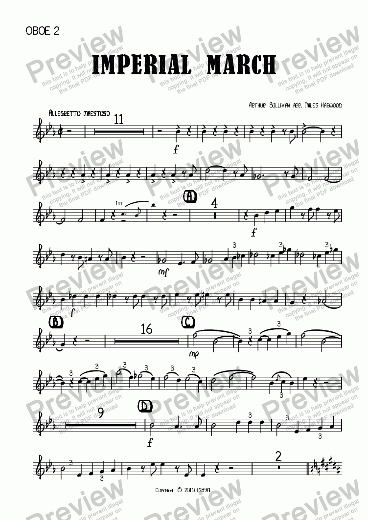 page one of the Oboe 2 part from Imperial March