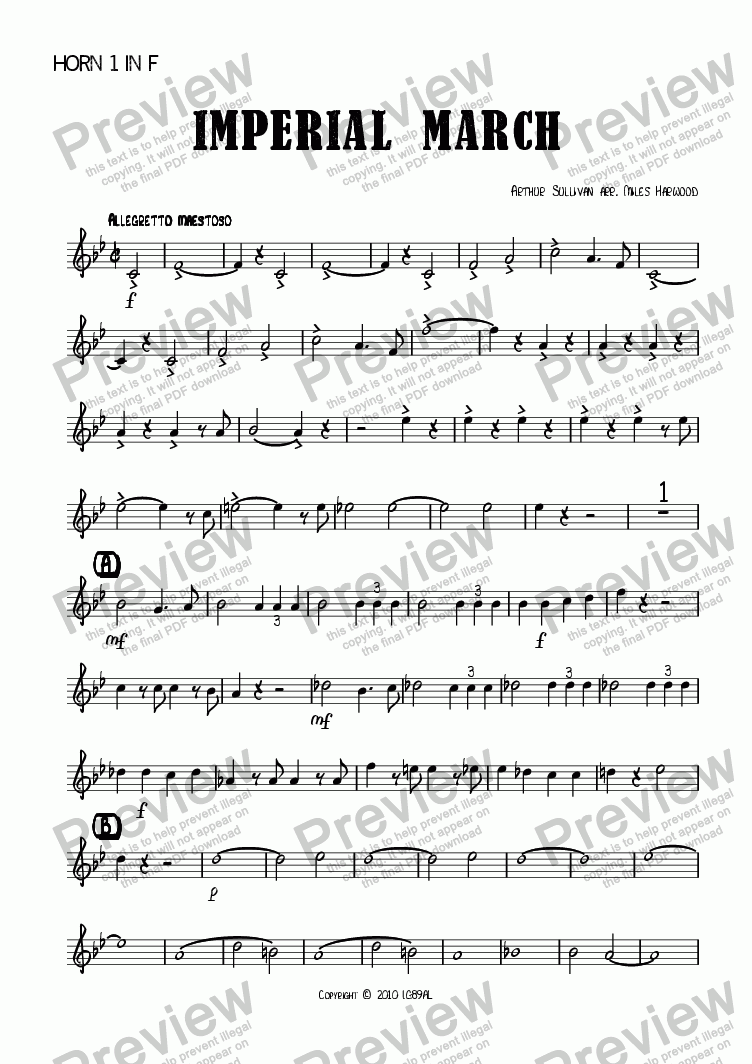 page one of the Horn 1 in F part from Imperial March