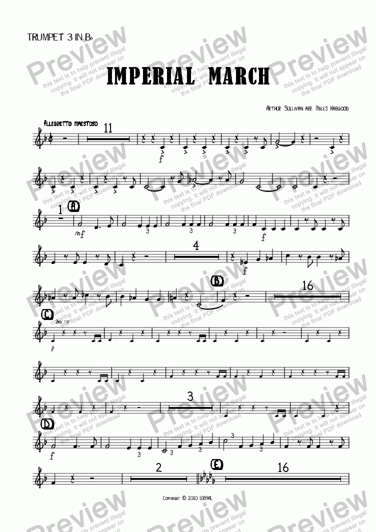 page one of the Trumpet 3 in Bb part from Imperial March