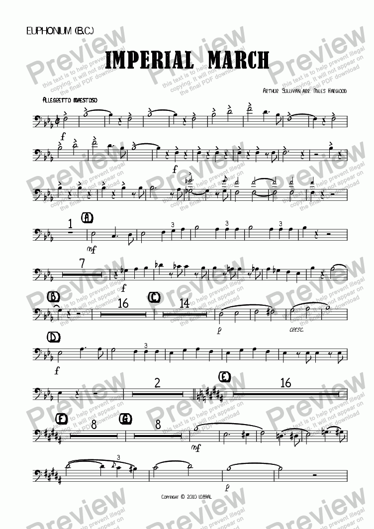 page one of the Euphonium (BC) part from Imperial March