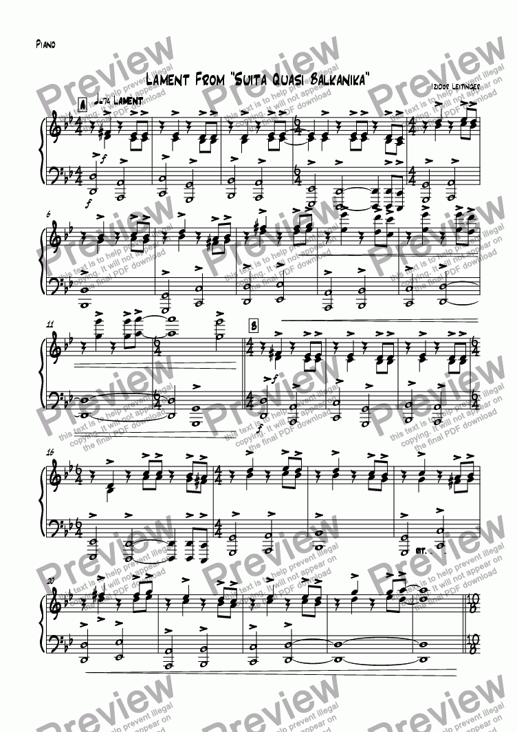 "page one of the Piano part from Lament From ""Suita Quasi Balkanika"""