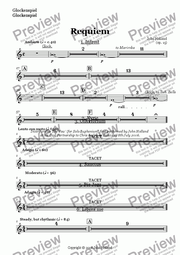 page one of the Glockenspiel part from Requiem