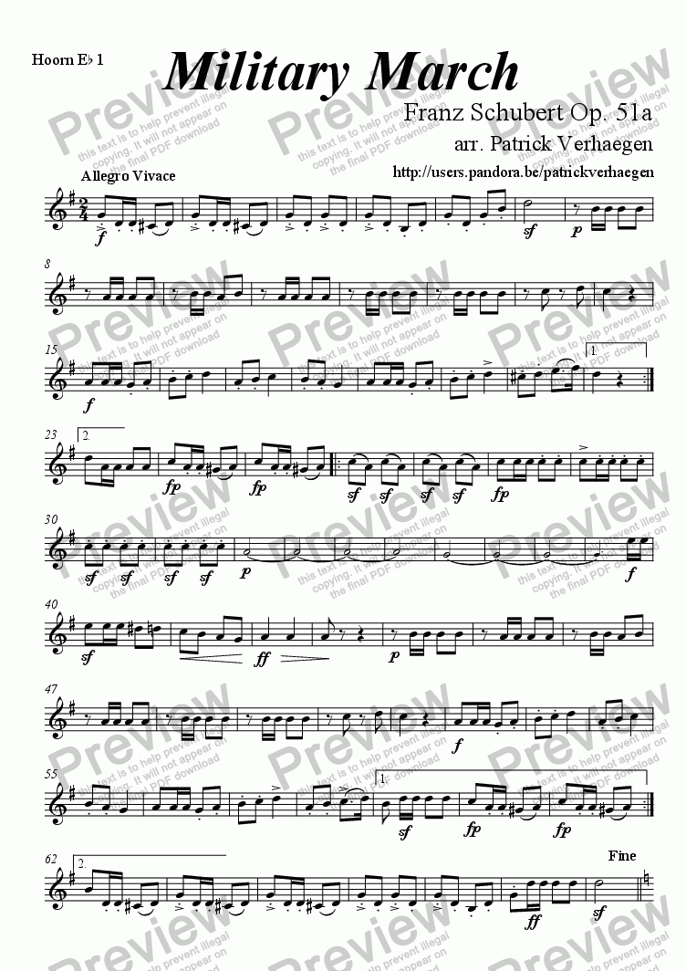 page one of the hoorn Eb 1 part from Military March (for fanfare band)