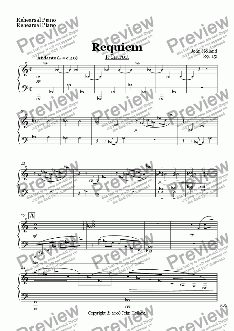 page one of the Rehearsal Piano part from Requiem