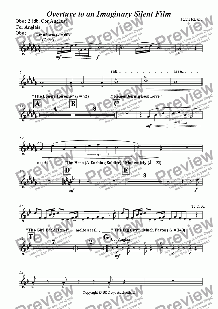 page one of the Oboe 2 (db. Cor Anglais), Cor Anglais, Oboe part from Overture to an Imaginary Silent Film