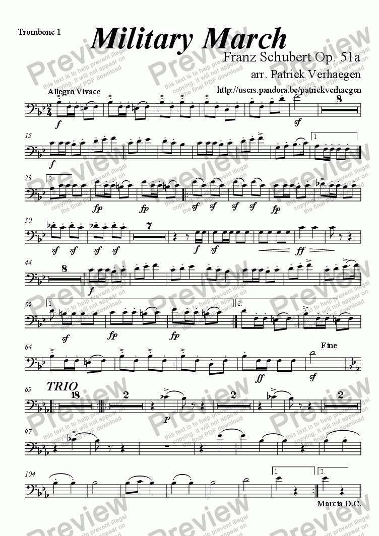 page one of the trombone 1 part from Military March (for fanfare band)