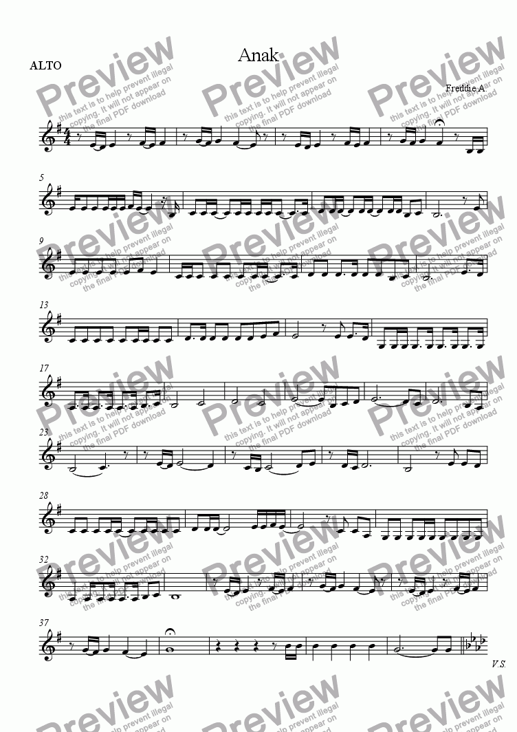 page one of the ALTO part from Anak