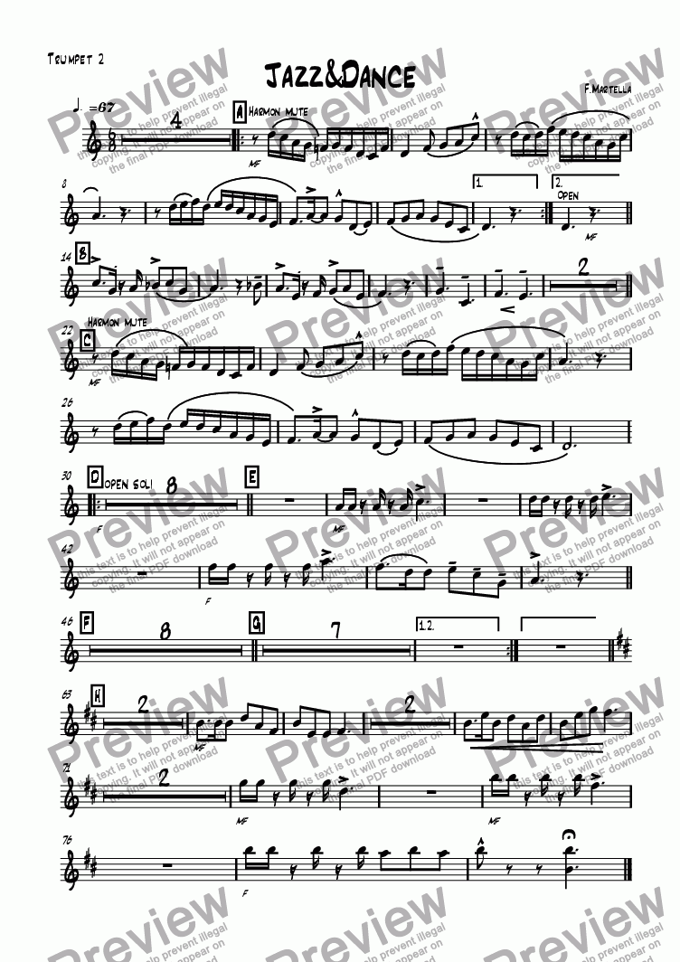 page one of the Trumpet 2 part from Jazz&Dance