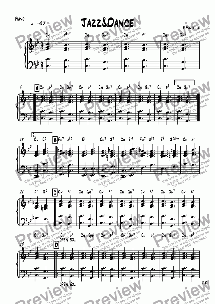 page one of the Piano part from Jazz&Dance