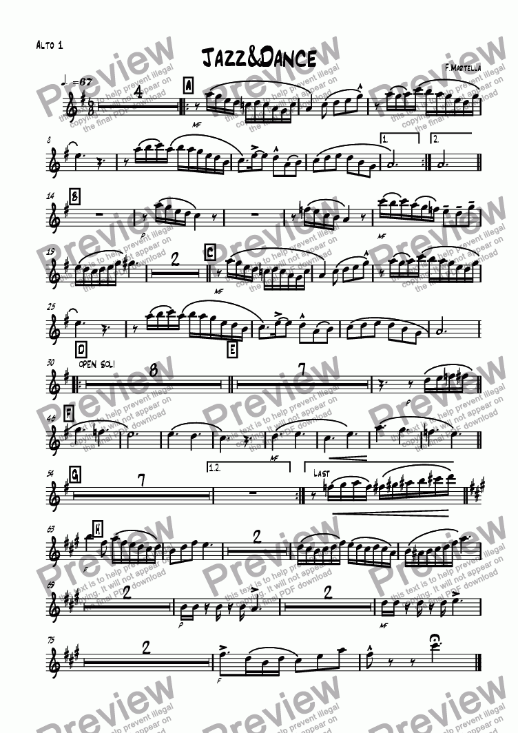 page one of the Alto 1 part from Jazz&Dance