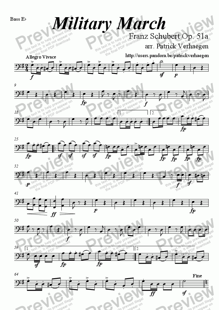 page one of the bass Eb bc part from Military March (for fanfare band)