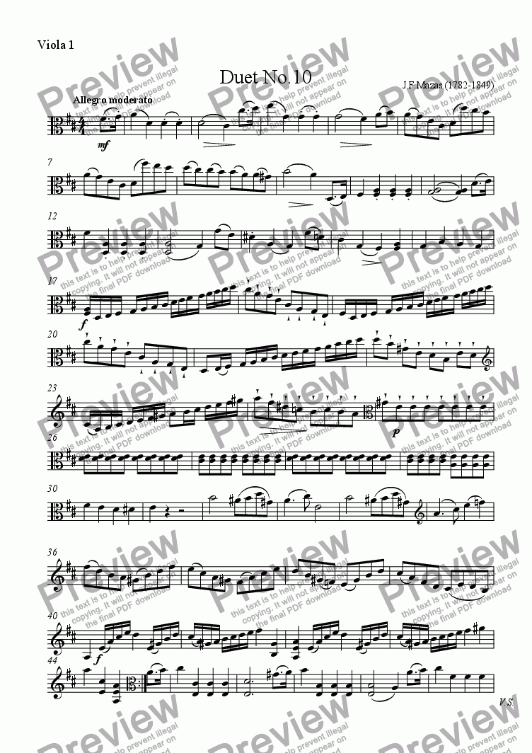 page one of the Viola 1 part from Mazas Duet for 2 Violas Op.38 No.10