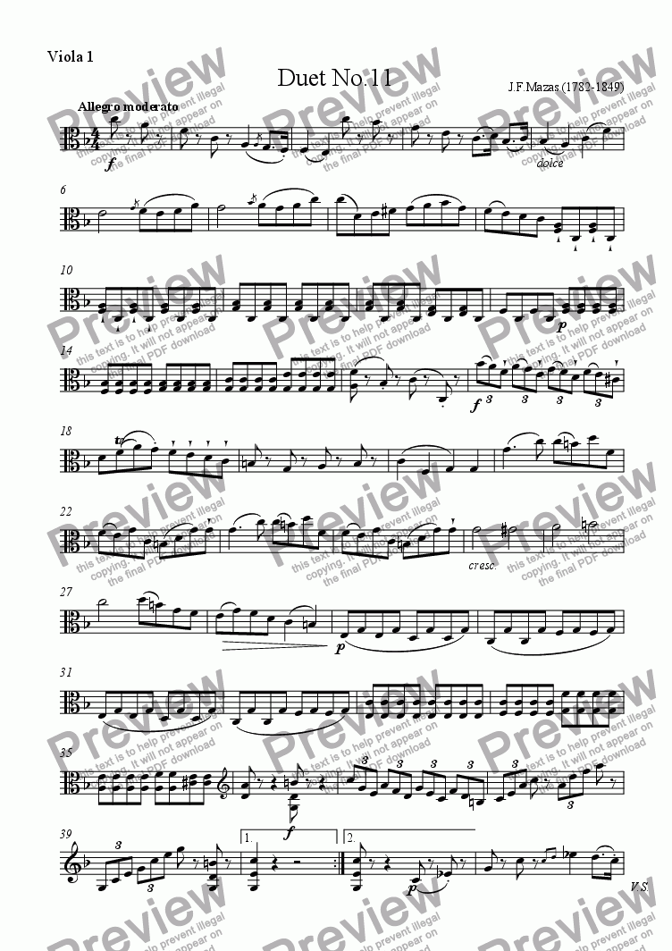 page one of the Viola 1 part from Mazas Duet for 2 Violas Op.38 No.11