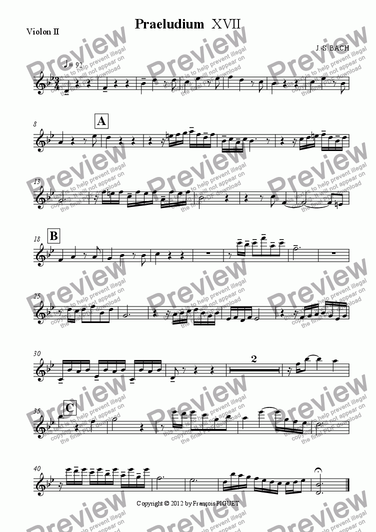 page one of the Violon II part from Praeludium  XVII