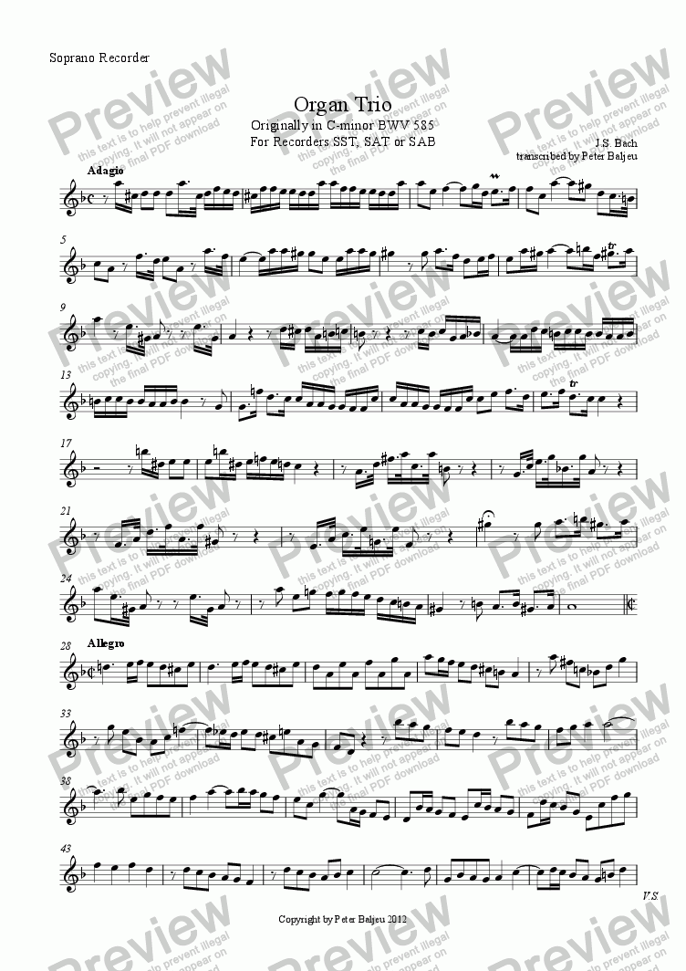 page one of the Soprano Recorder part from Bach Organ Trio for 3 Recorders