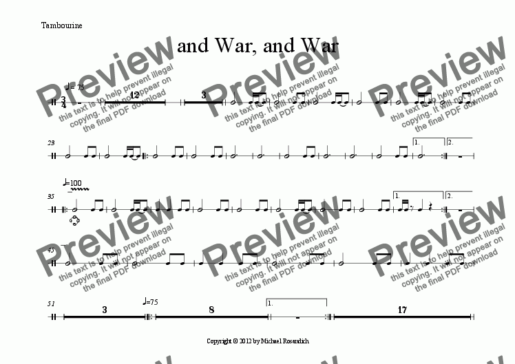 page one of the Tambourine part from and War, and War