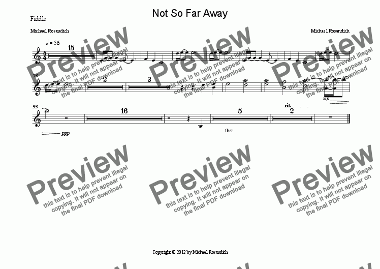 page one of the Fiddle part from Not So Far Away