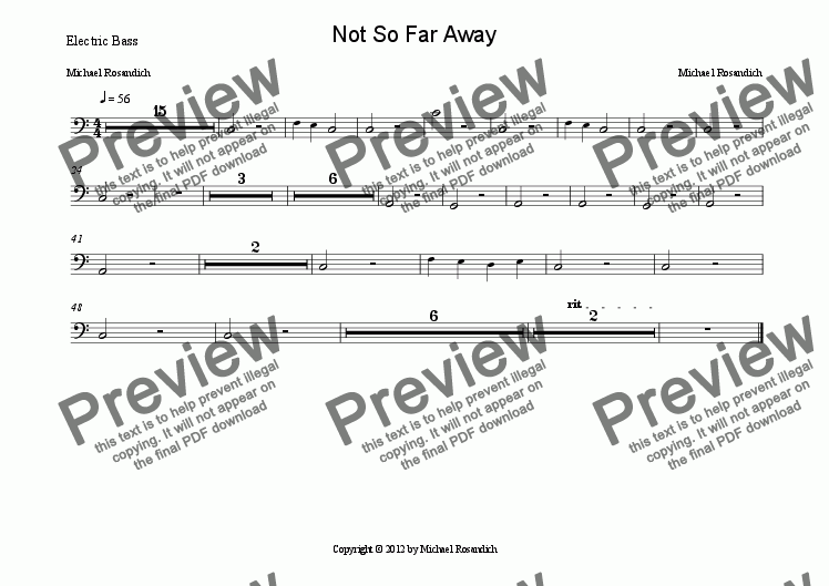 page one of the Electric Bass part from Not So Far Away