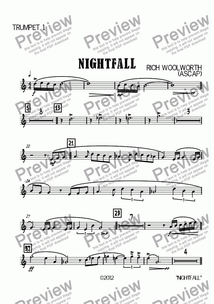 page one of the Trumpet 1 part from Nightfall