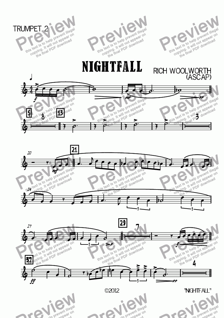 page one of the Trumpet 2 part from Nightfall