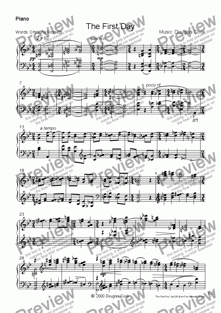 page one of the Piano part from The First Day