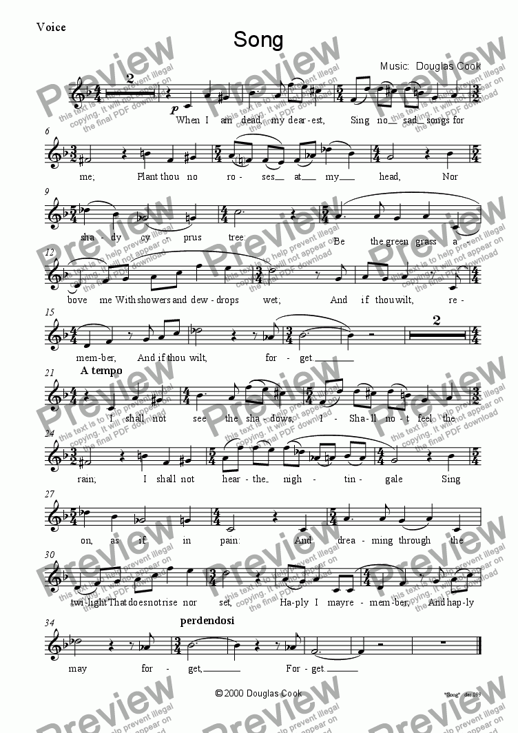 page one of the Voice part from Song