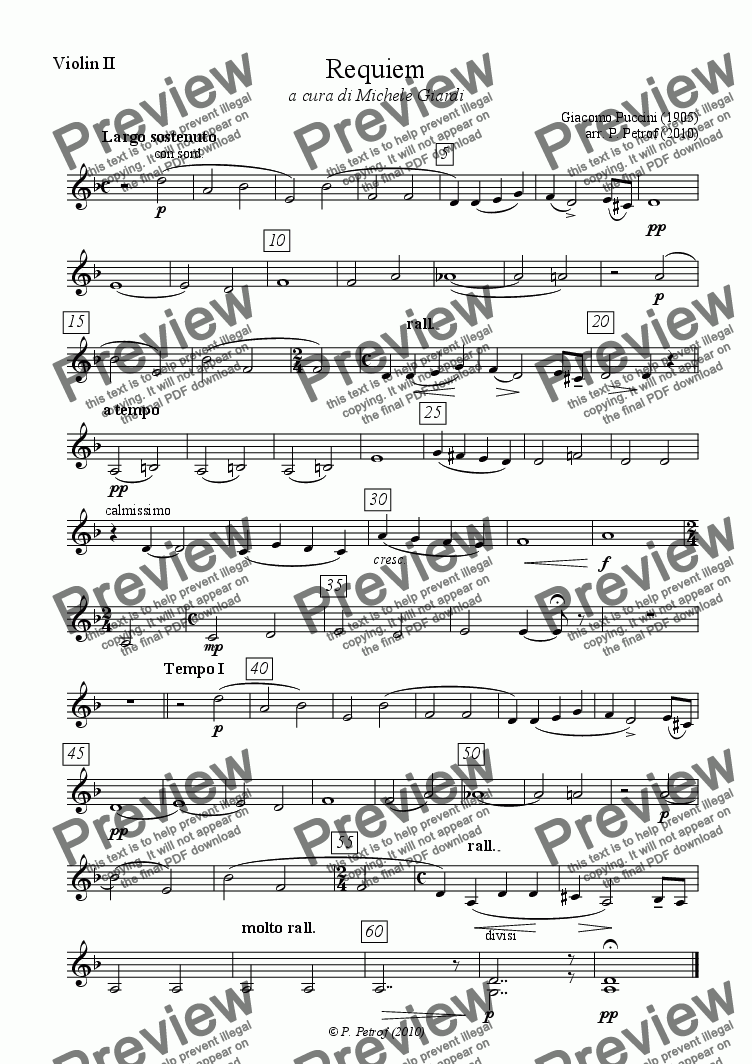 page one of the Violin II part from Puccini - REQUIEM - full score
