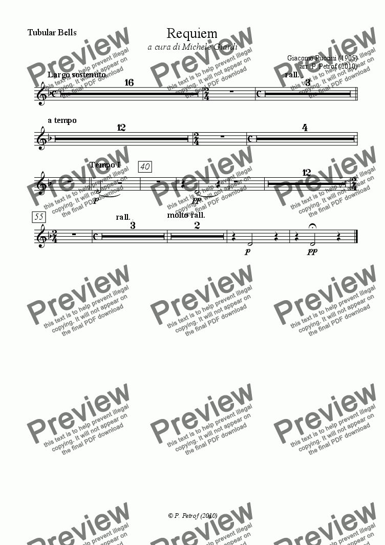 page one of the Tubular Bells part from Puccini - REQUIEM - full score