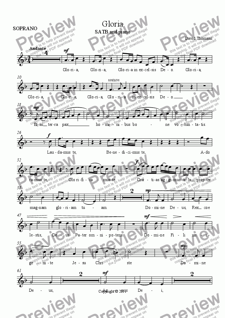 page one of the SOPRANO part from Gloria